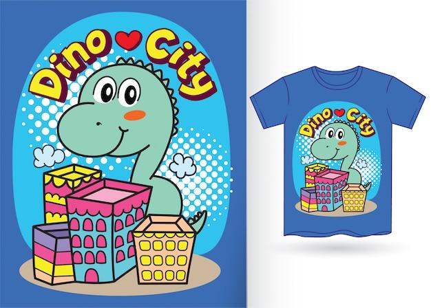 Niedlicher kleiner dino-cartoon für t-shirt Premium Vektoren