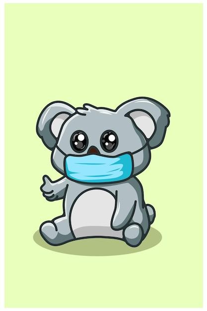 Niedlicher koala, der maske kawaii karikaturillustration trägt Premium Vektoren