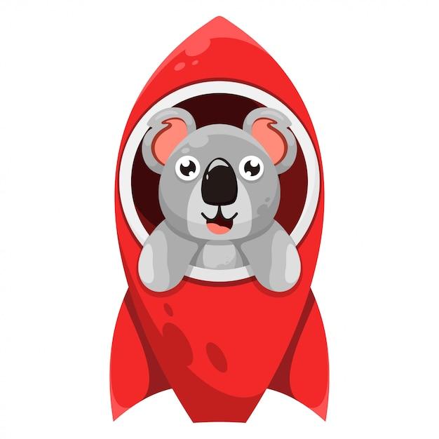 Niedlicher koala mit raketenkarikatur Premium Vektoren