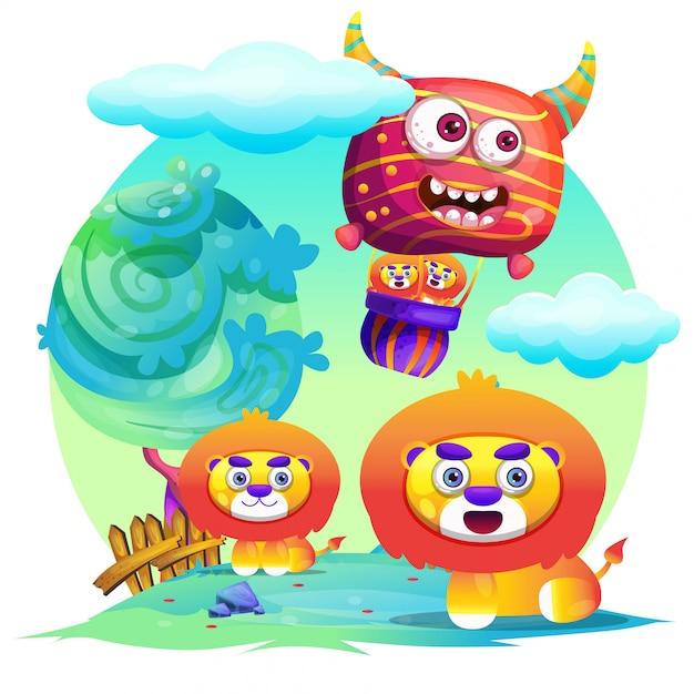 Niedlicher löwe-cartoon Premium Vektoren