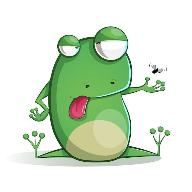 Niedlicher, lustiger frosch-cartoon. Premium Vektoren