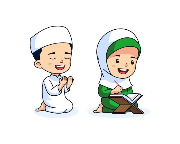 Niedlicher moslem scherzt cartoon Premium Vektoren