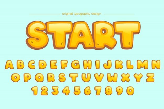 Niedlicher mutiger gelber komischer typografieentwurf Premium Vektoren