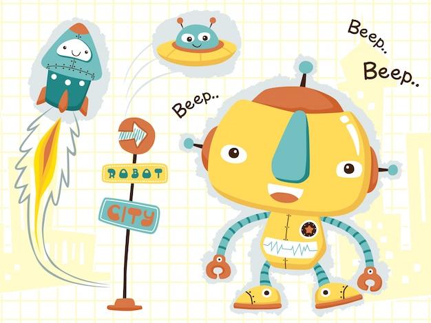 Niedlicher roboter-cartoon Premium Vektoren