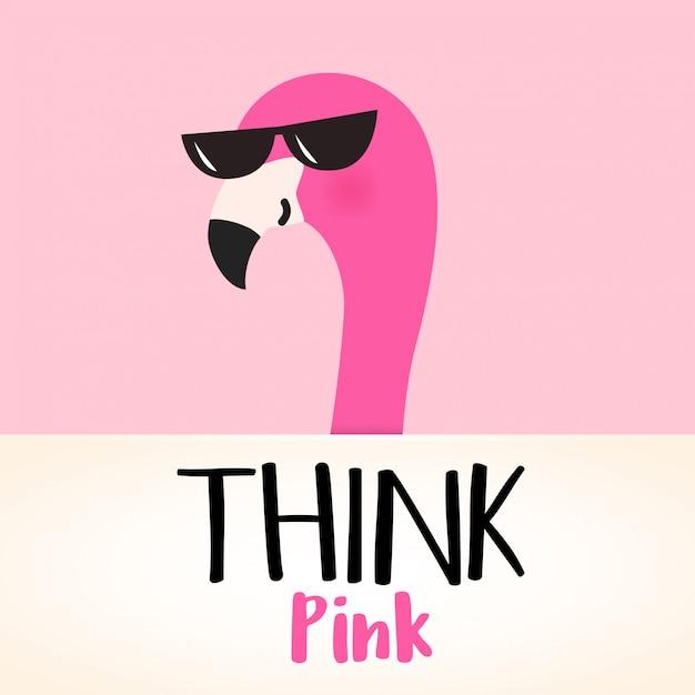Niedlicher rosa cartoonflamingo mit zitat Premium Vektoren