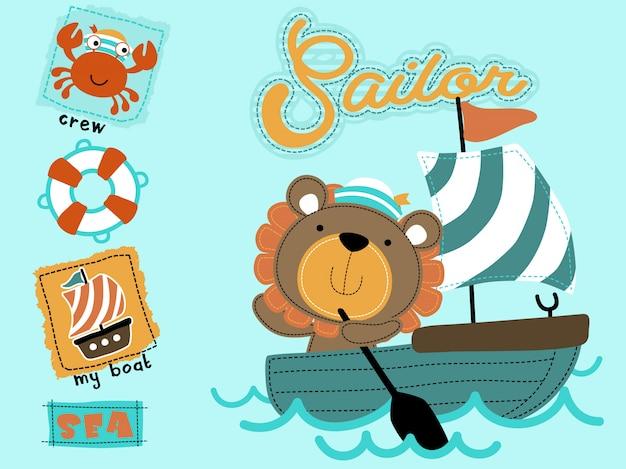 Niedlicher seemann cartoon auf segelboot Premium Vektoren