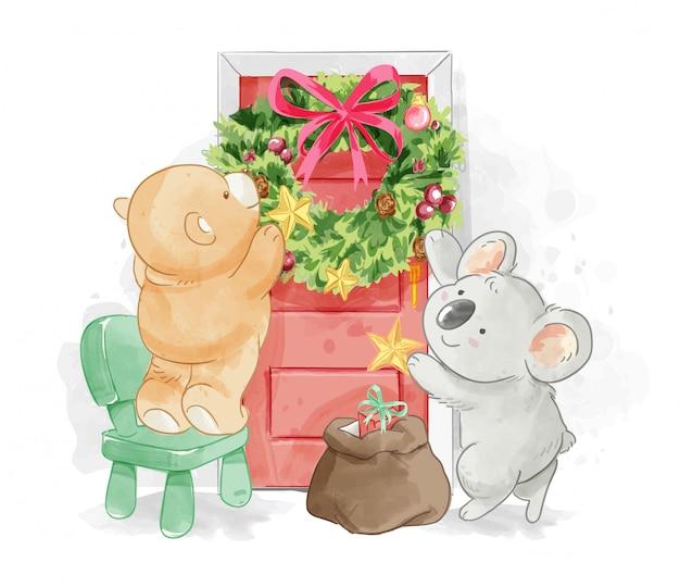 Niedlicher tierfreund, der weihnachtskranz verziert Premium Vektoren