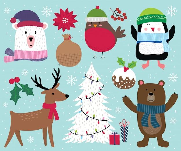 Niedlicher weihnachtscharakter, ren, baum, pinguin, bär, rotkehlchen und weihnachtsverzierungsdekoration Premium Vektoren