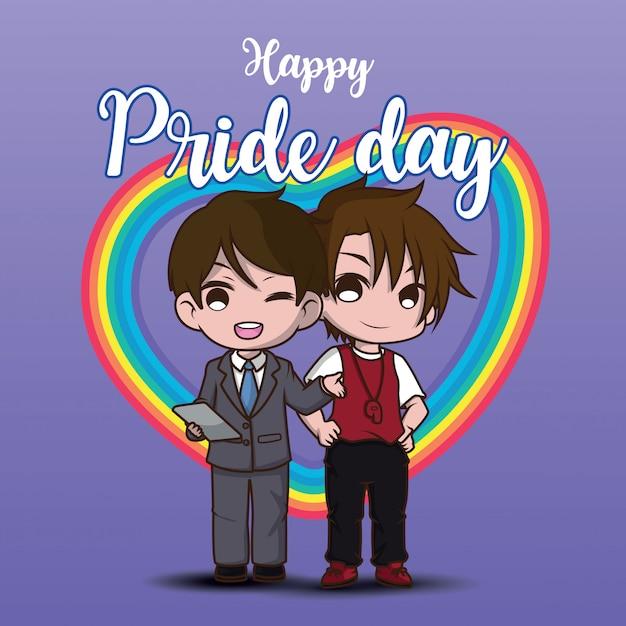 Niedlicher zwei lesbischer cartooncharakter. glücklicher stolztag. Premium Vektoren