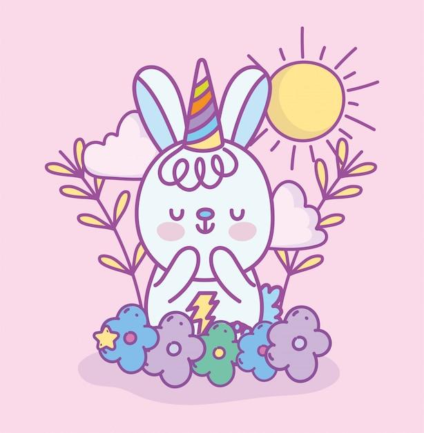 Niedliches kleines kaninchen mit partyhut regenbogenblumen sonnenwolken cartoon illustration Premium Vektoren