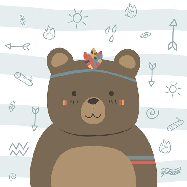 Niedliches lustiges braunes teddybär boho stammes- cartoongekritzel Premium Vektoren