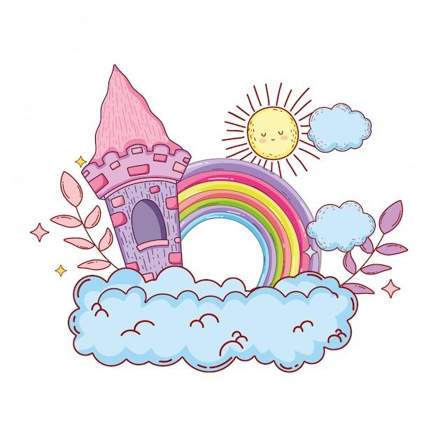 Niedliches märchenschloss und regenbogen in der wolke Premium Vektoren