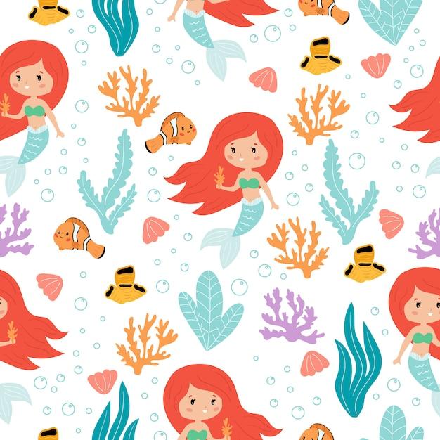 Niedliches nahtloses muster der kawaii meerjungfrauen auf weißem hintergrund, karikaturfisch, korallenriff und seetang. Premium Vektoren
