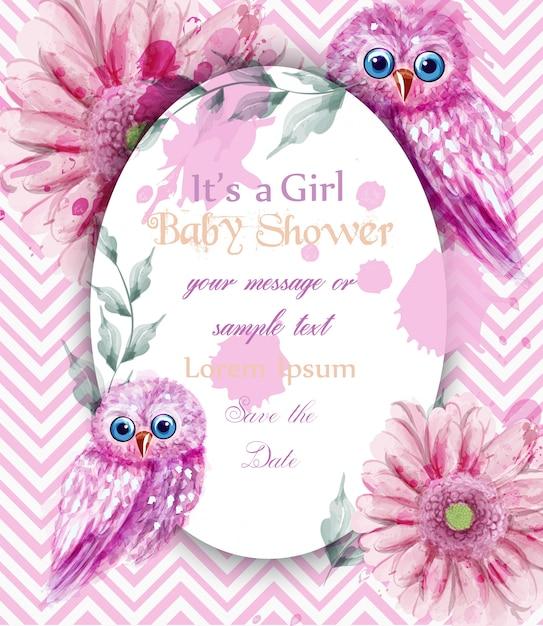 Niedliches rosa eulen kardieren babyparty-einladungsaquarell Premium Vektoren