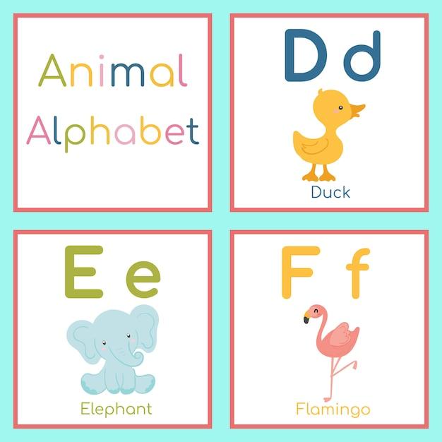 Niedliches tieralphabet. d, e, f brief. ente, elefant, flamingo. Premium Vektoren