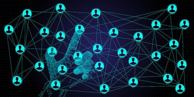 Niedrige polygonhand, die globale strukturvernetzung bearbeitet und kundenverbindung des datenaustauschs mit neuem computer ui. Premium Vektoren