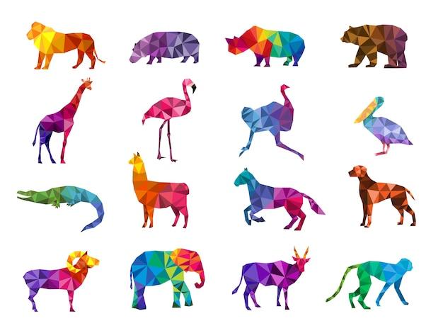 Niedrige polytiere. silhouetten von geometrischen dreiecksform bunte tiere zoo origami vektorbilder. abbildung affe löwe und vogel, bilden polygonale Premium Vektoren