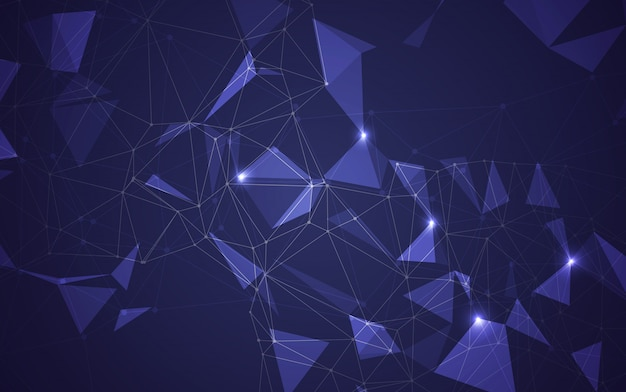 Niedriger dunkler polyhintergrund des abstrakten polygonalen raumes mit verbindungspunkten und linien. verbindungsstruktur. vektorillustrator Premium Vektoren
