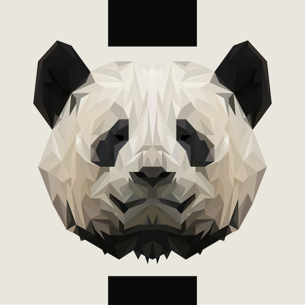 Niedriger polygonaler panda-kopf-vektor Premium Vektoren