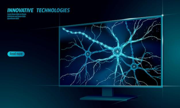 Niedriges polyanatomiekonzept des menschlichen neurons. Premium Vektoren