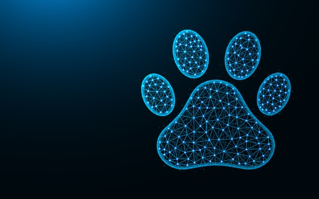 Niedriges polydesign der haustierabdrücke, katzen- und hundetierpfötchenzusammenfassung, geometrisches bild, polygonale vektorillustration der zoowireframe-masche gemacht von den punkten und von den linien Premium Vektoren