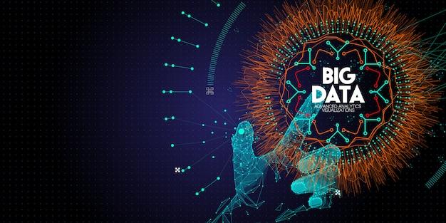 Niedriges polygon hand berühren big data advanced technology und visualisierung mit fractal element mit linien und punkten array. Premium Vektoren
