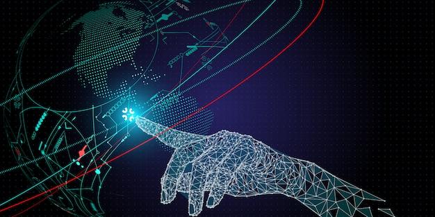 Niedriges polygon handrührendes telekommunikationsnetz und drahtlose mobile internet-technologie. Premium Vektoren