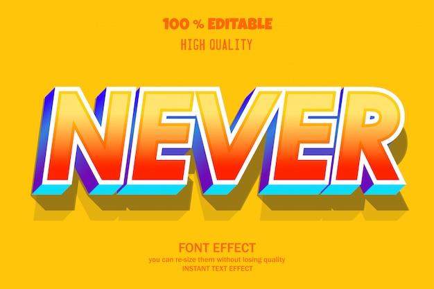 Niemals text, editierbarer font-effekt Premium Vektoren