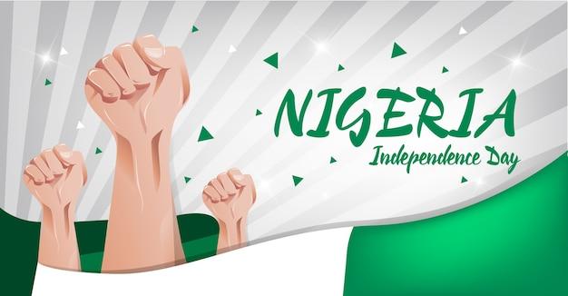 Nigeria independence day hintergrund Premium Vektoren