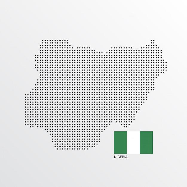 Nigeria-kartenentwurf mit flaggen- und hellem hintergrundvektor Kostenlosen Vektoren