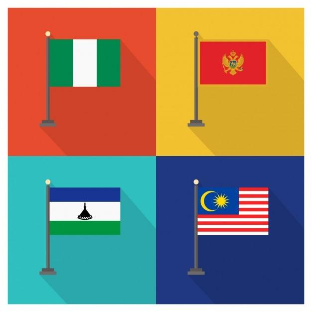 Nigeria Montenegro Lesotho und Malaysia Flaggen Kostenlose Vektoren