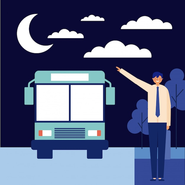 Nigth mann mit dem bus Kostenlosen Vektoren