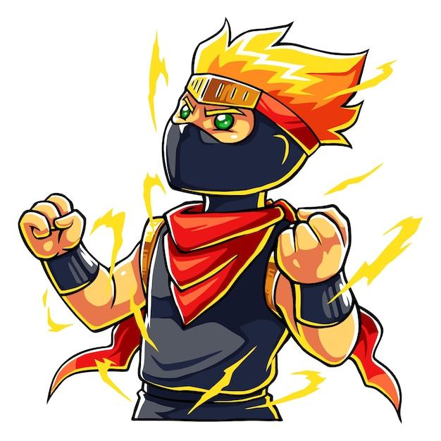 Ninja boy super power up. Premium Vektoren