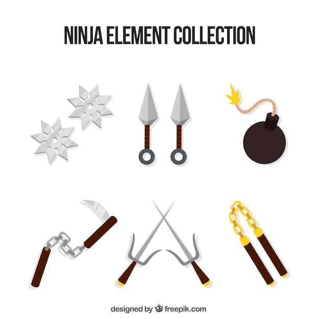 Ninja elementsammlung mit flachem design Kostenlosen Vektoren