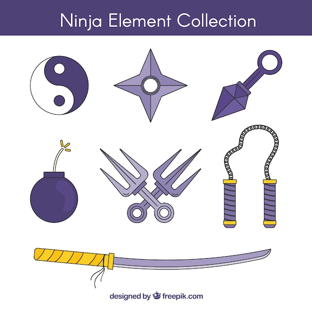 Ninja elementsammlung Kostenlosen Vektoren