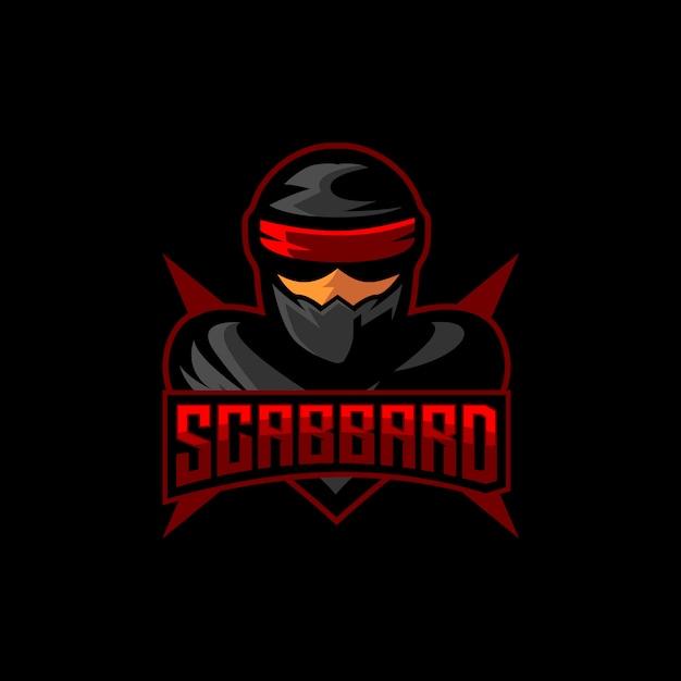 Ninja esports logo gaming maskottchen Premium Vektoren