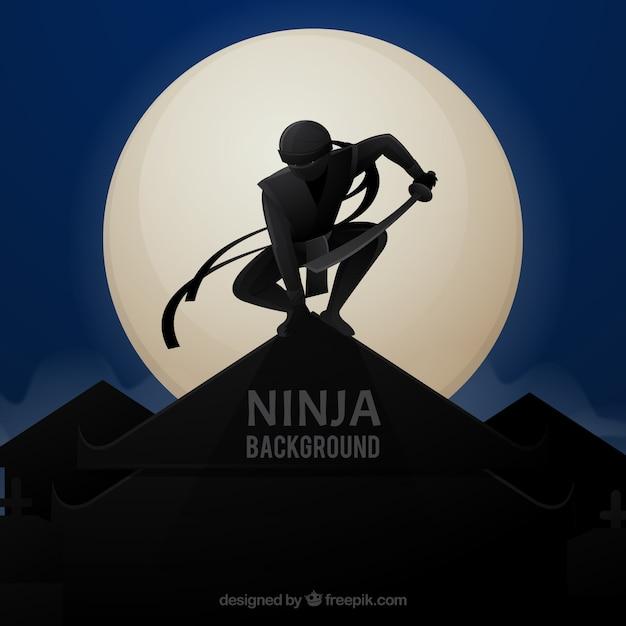 Ninja hintergrund mit krieger in der nacht Kostenlosen Vektoren