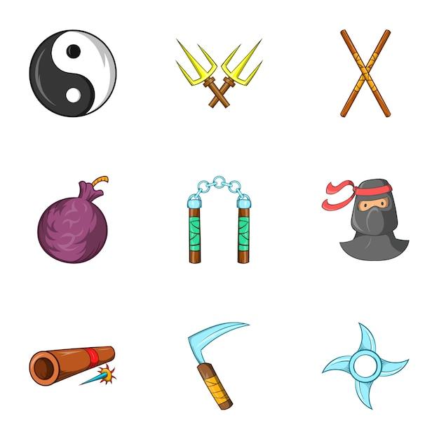 Ninja icons set, cartoon-stil Premium Vektoren