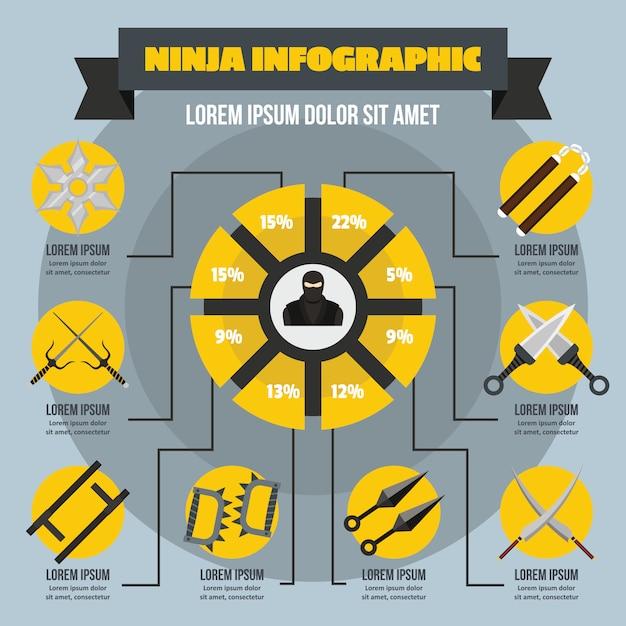 Ninja infographik konzept, flachen stil Premium Vektoren