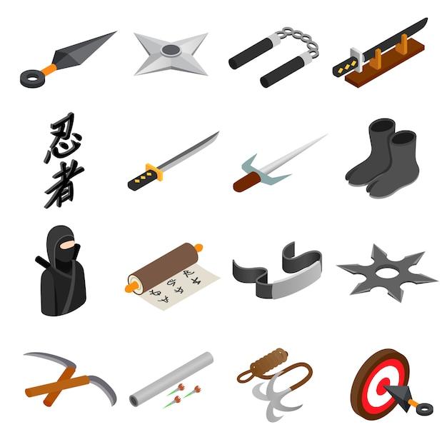Ninja isometrische ikone 3d lokalisiert auf weißem hintergrund Premium Vektoren