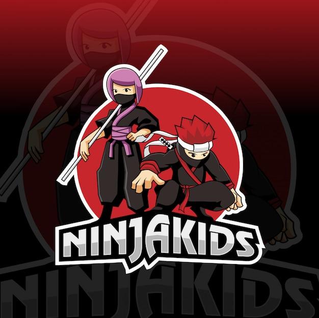 Ninja kids esport logo design Premium Vektoren