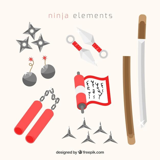 Ninja krieger elementsammlung mit flachem design Kostenlosen Vektoren