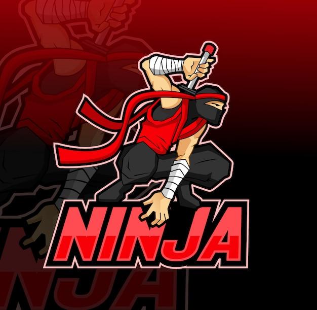 Ninja maskottchen esport logo Premium Vektoren