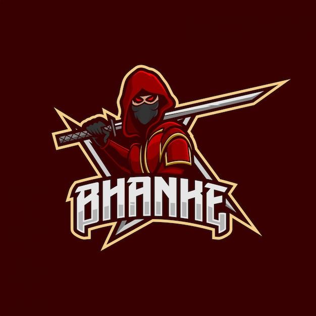 Ninja maskottchen-esport-logo Premium Vektoren