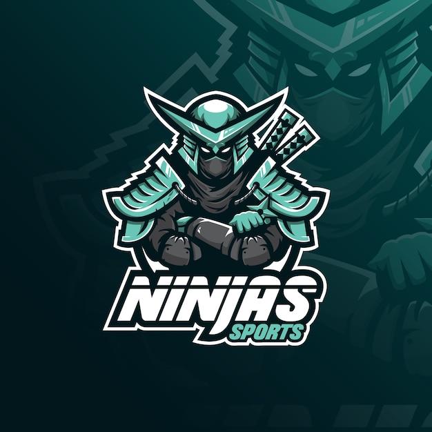 Ninja-maskottchen-logo mit moderner illustration Premium Vektoren