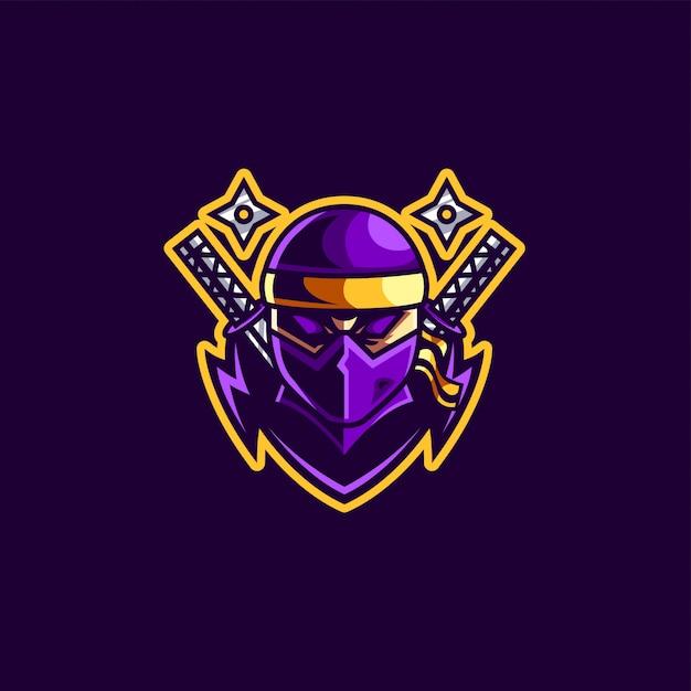 Ninja-maskottchen und esport-gaming-logo Premium Vektoren