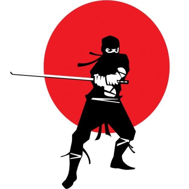 ninja mit katana auf japanischen flagge hintergrund download der kostenlosen vektor. Black Bedroom Furniture Sets. Home Design Ideas