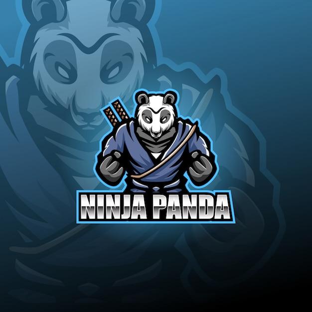 Ninja panda maskottchen Premium Vektoren