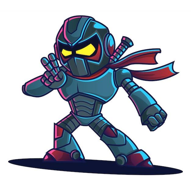 Ninja robot cartoon Premium Vektoren