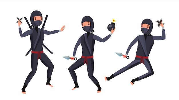 Ninja warrior-zeichensatz Premium Vektoren